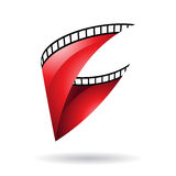 Red Glossy Film Reel icon Royalty Free Stock Photo