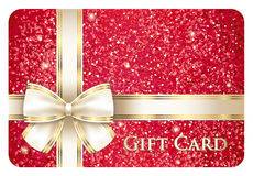 Red glossy gift card with cream ribbon Royalty Free Stock Images