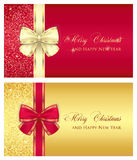 Red glossy gift card with cream ribbon Royalty Free Stock Photo