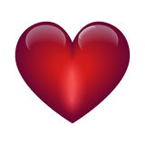 Red glossy heart. Glosssy red heart on white background Stock Photo