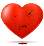 Red glossy heart with cuts Stock Photo
