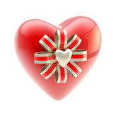 Red glossy heart decorated with bow Stock Photos