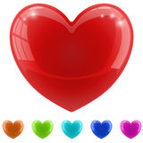 Red glossy heart Stock Images