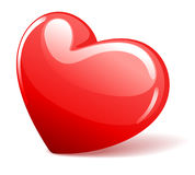 Red glossy heart in perspective Stock Photography