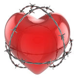 Red glossy heart surrounded by barbed wire Royalty Free Stock Photo