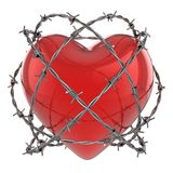 Red glossy heart surrounded by barbed wire. 3d illustration Stock Photos