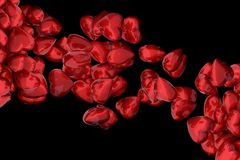 Red glossy hearts against black. Abstract 3D render of red glossy hearts against black background Royalty Free Stock Photos