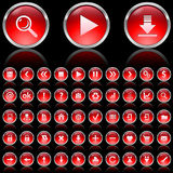 Red glossy icons Stock Photos