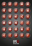 30 red glossy interface  icons. Vector red glossy interface icons Stock Image