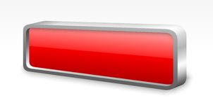 Red glossy metal button. 3D red glossy button with metal edge Stock Image