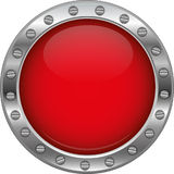 Red glossy metallic button Royalty Free Stock Images