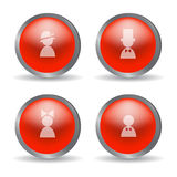 Red glossy modern spheres with family icons. Royalty Free Stock Images