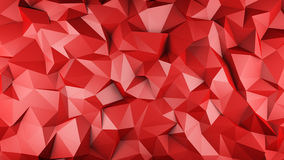 Red glossy polygonal geometric surface 3D rendering. Red glossy polygonal geometric surface. Computer generated abstract background. 3D render illustration Royalty Free Stock Photography