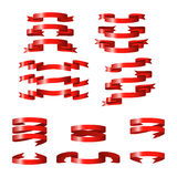 Red glossy ribbon  banners Stock Photography