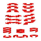 Red glossy ribbon  banners Royalty Free Stock Images