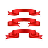 Red glossy ribbon  banners Royalty Free Stock Photos