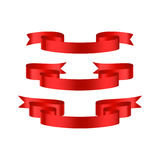 Red glossy ribbon  banners Stock Photo