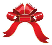 Red Glossy Ribbon Bow Vector Illustration Royalty Free Stock Photos