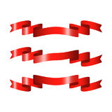 Red glossy ribbon vector banners Royalty Free Stock Photo