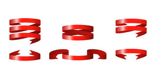 Red glossy ribbon vector banners Stock Images