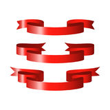 Red glossy ribbon vector banners Royalty Free Stock Image