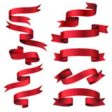 Red glossy ribbon vector banners set Royalty Free Stock Photography
