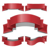 Red glossy ribbon vector banners set. Web Ribbons banner With Gradient Mesh. Ribbon banner vector illustration Stock Photos
