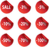 Red glossy Sale stickers with reflection and abate Royalty Free Stock Image
