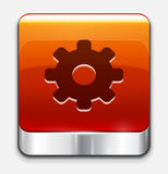 Red glossy settings button. Vector icon Stock Photography