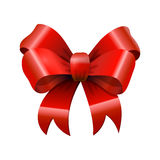 Red glossy shiny realistic bowtie, bow with tails on white Stock Photo