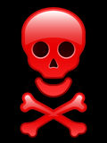Red glossy skull with crossbones Stock Photo