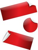 Red glossy stickers Stock Photos