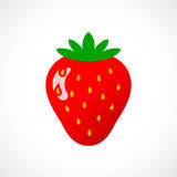 Red glossy strawberry vector icon Stock Photography