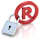 Red glossy Trademark sign with padlock on a white. 3D illustration of red glossy Trademark sign with padlock on a white background Royalty Free Stock Photography