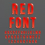 Red glossy vector font or red alphabet. Red colored typeface. Red colored alphabet typographic illustration. Vector royalty free illustration