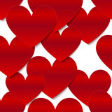 Red glossy vector paper hearts at white background Royalty Free Stock Photos