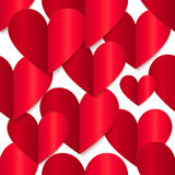Red glossy vector paper hearts at white background Stock Photo