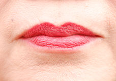 Red glossy woman lips. Stock Photography
