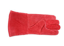 Red glove. Red protective glove isolated over white background Stock Image