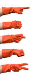 Red glove gestures Stock Image
