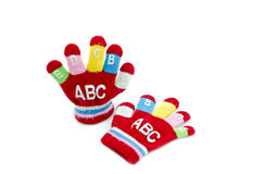 Red glove. With word ABCDEFGIJ isolated white background Royalty Free Stock Photo