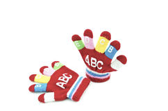 Red glove with word Royalty Free Stock Photo