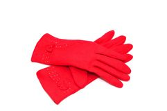 Red gloves royalty free stock image