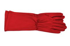 Red gloves. Long red gloves isolated on white background Stock Photo