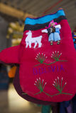 Red gloves from Bolivia ethnic market Stock Photos