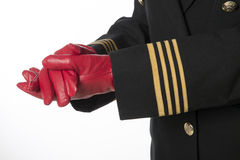 Red gloves and clenched fists Royalty Free Stock Photo