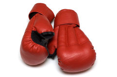 Red gloves for hand-to-hand fight Royalty Free Stock Images
