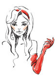 Red gloves. Pen. art. color. girl  illustration Stock Image