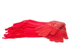 Red gloves and scarf. royalty free stock image