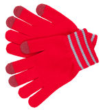 Red gloves with stripes Stock Photo